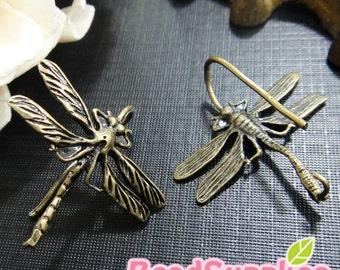 FN-ER-03049 -Nickel Free, Antique Brass, Dragonfly earrings, 2 pairs