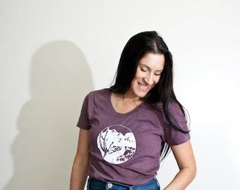 Women's Desert T-Shirt • Cactus Outdoors Landscape Printed Design • Graphic Silk Screen Print • Mountains Shirt • Vintage Inspired • Loft415