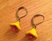 SALE blossom drop earrings - olive green