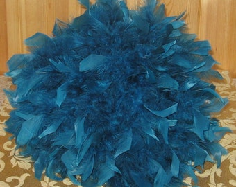 "12"" Chandelle Feather Centerpiece, with crystals, pearls,teal, gem blue,Eiffel Tower vase, bat mitzvah, banquets"