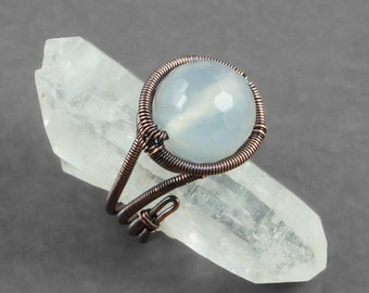 Copper and White Agate Adjustable Ring - CLEARANCE