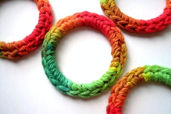 Cat and Ferret Toys, Recycled Rings Toy, Red Green Orange Yellow, Gift for Cats and Ferrets