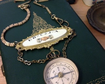 Antique Compass and Fraternity Medal Assemblage Necklace - The Delegate Part Deux by TheRabbitHole