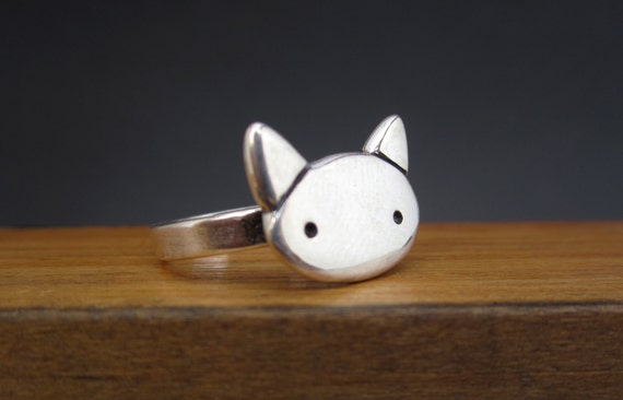 Kitty Cat Ring - Simple Sterling Silver Cat Ring