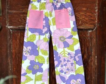 purple flower pants - size 5