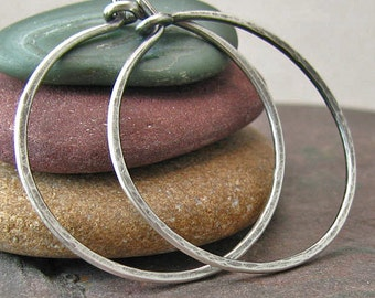 Oxidized Sterling Silver Hoop Earrings Rustic Jewelry Handmade Hammered Silver 1 Inch Small Hoops Minimalist Jewelry Recycled Silver Jewelry