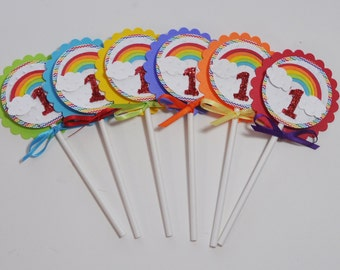 Rainbow Cupcake Toppers- Set of 12- Girl 1st Birthday