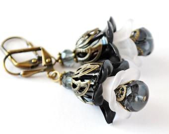 Charcoal Layered Flower Earrings