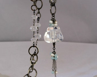 Rock Crystal Quartz Nugget and Gunmetal Long Necklace
