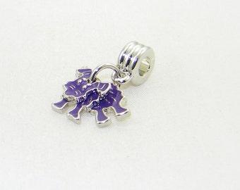 Purple motion dog handmade large hole dangle charm bead for European bracelets and necklaces