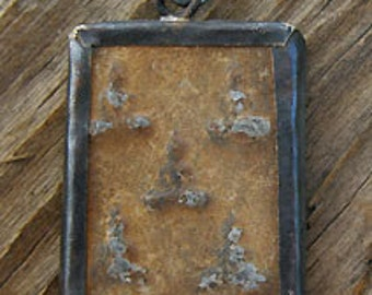 Metal Framed Buddha Amulet -Square 31x21mm
