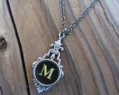 Letter M  Typewriter Key Necklace
