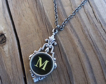 Letter M  Typewriter Key Necklace