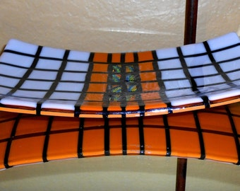 Pumpkin Colored Fused Glass Small Platter with Dichro Inserts
