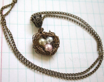 Wire Wrapped Nest Pendant Necklace with Pink, Cream and Gray Pearls, Mother,New Mom, Nature Inspired Wedding, Mothers Day,Bridesmaid Jewelry