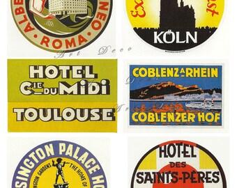 international vintage luggage labels, Paris, London, Rome, Koln, printable digital download no. 76