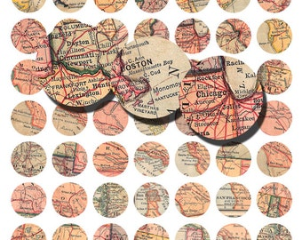 vintage american maps, one inch bottlecap, jewelry supplies digital download collage sheets no. 1053