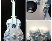 Gloss White Skull Guitar Sculpture Wall hanging Tattoo Goth Dia de Muertos Shabby chic - kyoob