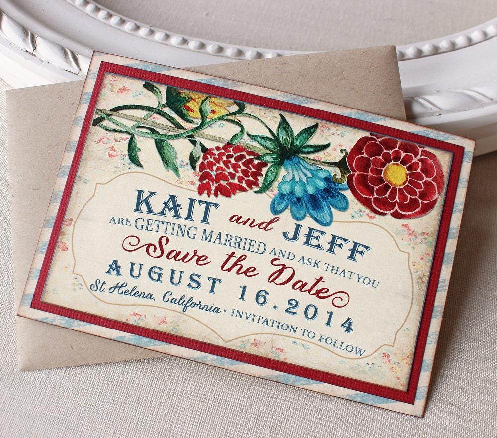 Vintage Garden Wedding Save The Date Magnet Watercolor Floral
