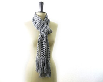Super Long Summer Lace Scarf. Fringe. Gray Linen Cotton. Romantic Boho Style. Spring Fashion. Hand Knit in France. Fog Grey.