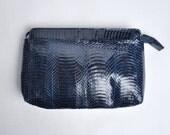 reserved - much ado snakeskin clutch / navy purse / snakeskin purse