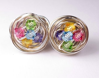 Spring Mix Sterling Silver Post Earrings Swarovski Crystal Stud Earrings Customize Personalize