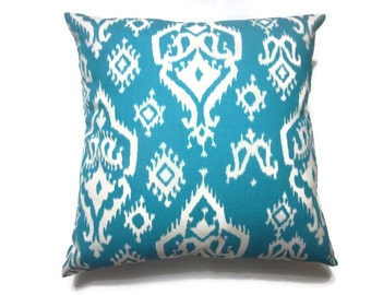 Decorative Pillow Cover Turquoise White Ikat Design Throw Toss Accent Cover Same Fabric Front and Back 18x18 inch x