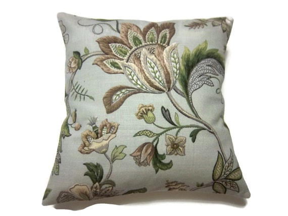 Decorative Pillow Cover Gray Taupe Olive Green Brown HandmadeFaux Crewel Look Floral Toss Throw Accent 16x16  inch x
