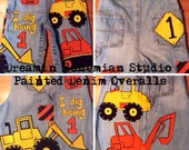 Custom hand painted Construction Trucks Tractors and Bulldozer Overalls for Birthday Boy