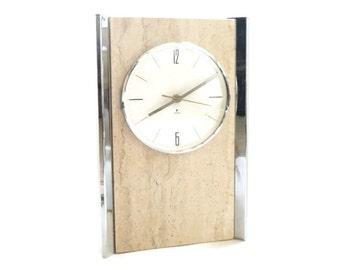1960s Chrome and Travertine Clock by Raymor