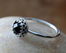 Rose Cut Black Spinel Ring • Gallery Bezel • Sterling Silver Gemstone • Size 1.75 to 15 • Princess Crown Setting • Gift for Her