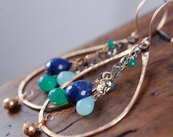 Aegean Sea Earrings - Lapis, Green Onyx & Chalcedony
