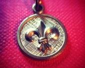 Brass fleur de lis necklace