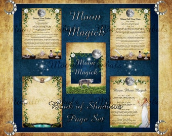 Moon Magick Digital Book of Shadows Pages - Set of 5 - Witch's Grimoire, Lunar Phases, Kitchen Witch Recipes, Moon Goddess, Wicca, Pagan