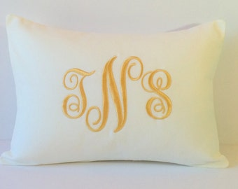 WHITE Monogram Pillow Cover. Custom Decorative Pillow 12 x 16. Wedding Gift.  Baby Nursery. Dorm Decor. Baptism Gift. Cottage. SewGracious