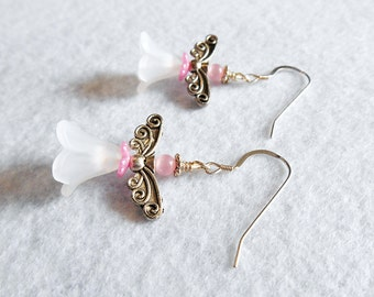 Angel / Fairy earrings - pink, white and silver drop beaded earrings - Destash sale - Clearance
