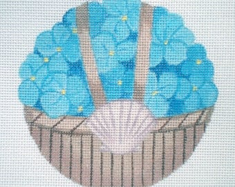Handpainted Blue Hydrangea Basket Needlepoint Canvas
