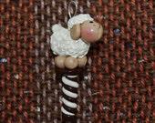 Cream Sheep weaving loom heddle hook - polymer clay
