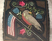 Primitive PATTERN Needle Punch Mat Americana Robin Flag And Flowers