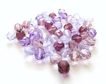 Purple Haze Mix Faceted Round Czech Glass Beads, 6mm - 25 pieces