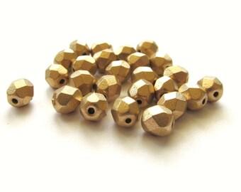 Round Faceted Matte Metallic Gold Czech Glass Beads, 6mm - 25 pieces
