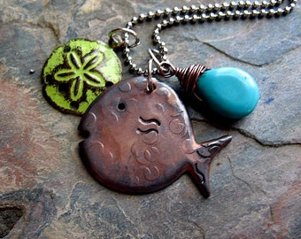 Hand Stamped Copper Fish Necklace, Wire Wrapped Turquoise Stone, Lime Starfish, Stainless Steel Ball Chain