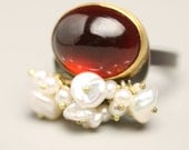 Garnet Statement Ring 22k Gold and Oxidized Silver and Pearls January Birthstone
