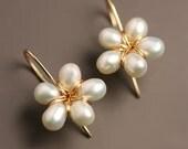 18k Gold Pearl Flower Drop Earrings Wedding Earrings Solid Gold