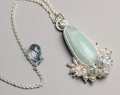 Special Offer - Ocean Picture Rock Necklace with Pearl Fringe in Sterling Silver