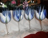 Wine glass/goblet Handpainted,  Periwinkle and white One set only