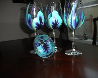 Wine glass/goblet Handpainted,  Purple and Teal