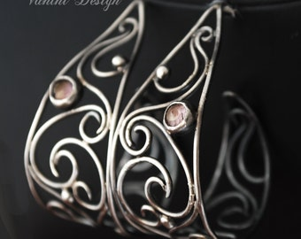 Fine silver and pink Topaz wide hoops post earrings