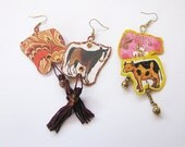 Handmade Decoupage Earrings Horse Tails and Cow Bells Whimsical Dangles Two Pairs SALE
