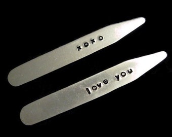 Custom Aluminum Collar Stay Set - xoxo  love you